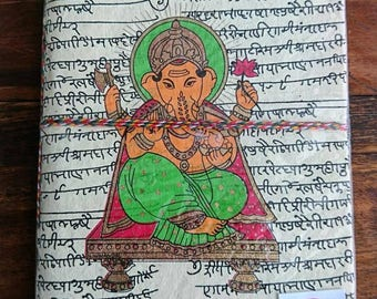 Indian notebook, travel journal, notebook, ganesha, eco friendly, boho, gifts for her