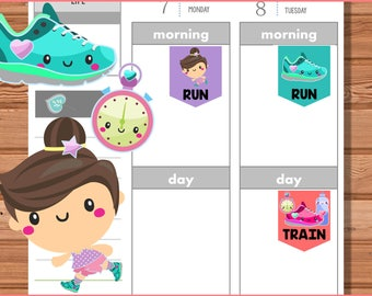Kawaii Run and Marathon Training Planner Stickers - Brunette, printable, planner stickers, erin condren, happy, sports, running, fitness