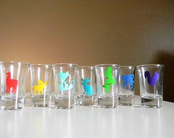 Custom Shot Glass > Animal Shot Glass> Llama Moose Fox Jackalope Mermaid Koala Squirrel Bear > Unique Shot Glasses > Fun Barware > Gift Idea