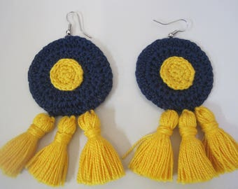 Handmade crochet earrings.