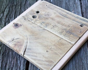Handmade Reclaimed Wood Trivet or Serving Tray Rustic Kitchen Decor Recycled Fence Paling Aged Weathered Shabby Salvage Eco Friendly OOAK