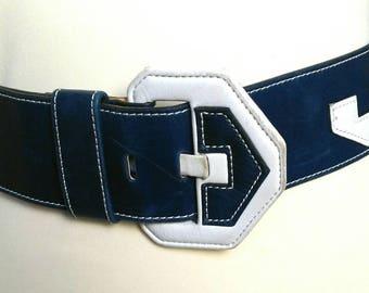 Large vintage blue and white leather belt, geometric pattern leather belt