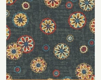Sale Navy Medallion Cotton Fabric from the Kashmir Collection by Rosemarie Lavin for Windham Fabrics