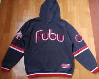 FUBU hoodie, vintage hip hop sweatshirt, black shirt of 90s hip-hop clothing, 1990s gangsta rap, old school, OG, size M Medium