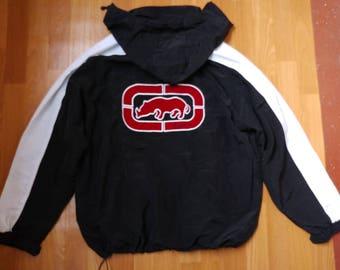 ECKO UNLTD jacket, vintage Ecko jacket of 90s hip-hop clothing, old school 1990s hip hop college jacket, black, og, gangsta rap L Large