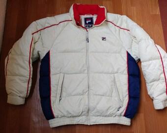 FILA jacket, vintage puffer jacket of 90s hip-hop clothing, old school 1990s hip hop, gray parka, gangsta rap, size L Large