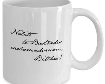"THE HANDMAID'S TALE ""Nolite te Bastardes"" - Latin Quote Mug - Margaret Atwood Fan - Book Lover Gift - 11 oz white coffee tea cup"