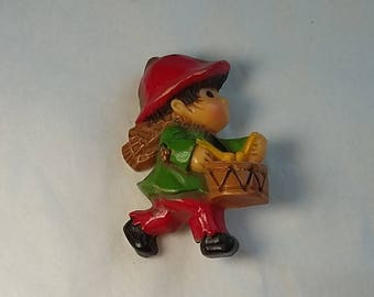 Vintage Hallmark Colorful Plastic Brooch, Little Drummer Boy,