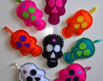 Handmade Felt Ornament - Colourful Skull