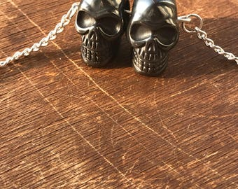 Hematite Crystal Skull Double Choker Necklace - Protection - Negative Energy Absorber - Unique