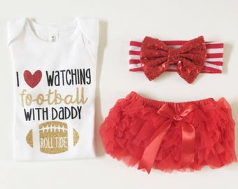 Baby girl/I love watching football with daddy/ football season/ football