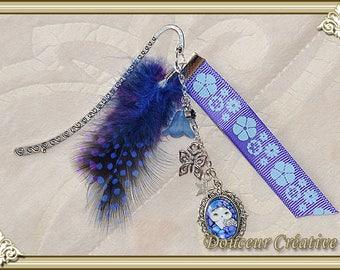 Bookmark purple, blue feather 305013