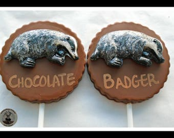 Badger Gift Chocolate Lollipops/Chocolate Badger/Woodland Animal/Black and White/Woods/Countryside/Nature Lover/Edible Badger/Men/Women/Kids