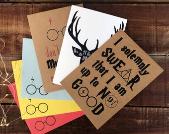 Harry Potter themed cards, pack of 3, greeting cards