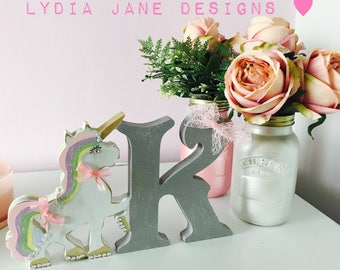 Personalised Unicorn freestanding gift initial decoration ornament