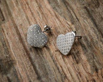 925 Sterling Silver Heart Swarovski Crystal Element Stud Earrings in Luxury Jewellery Gift Box