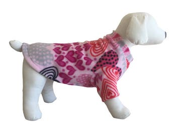 Fleece dog shirt Valentines Day Heart Sweater Dachshund sweatshirt pajamas dog Fleece warm puppy Small  Medium Large