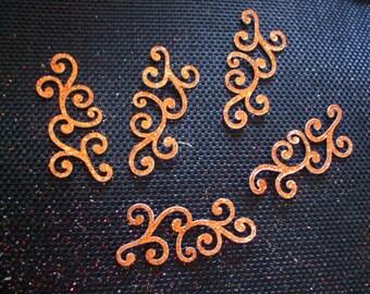 x 5 swirls of glittery copper glitter scrapbooking creations, decorations