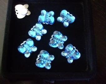 Cabochon 15 mm blue rhinestone Butterfly in acrylic