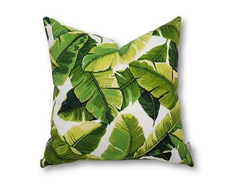 Lush Palm Leaf White Cushion Cover, Indoor Outdoor Cushion Cover, Tropical Cushions, Palm Tree Cushion Cover, Tropical Home Decor