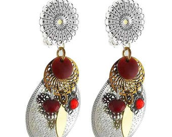 Red Fez clip earring
