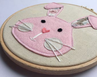 """Bunny Rabbit Floral Embroidery Hoop, 6"""" Embroidery Hoop, Nursery Decor, Wall Hanging"""