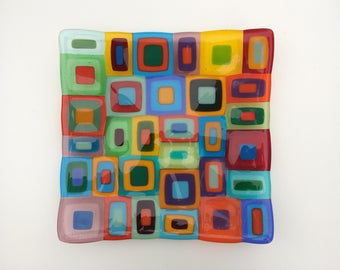 "Large multi coloured retro fused glass dish, a colourful 12"" square glass bowl"