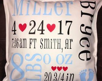 Custom baby birth announcement pillow