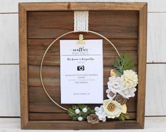 "Small Ring Floral Frame , 4x6 photo (11x11"" overall), modern wreath, felt flower wreath, nursery hoop art, picture frame, floral hoop art"