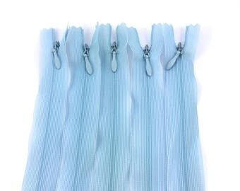 Set of 5 invisible zippers 20 cm not separable sky blue