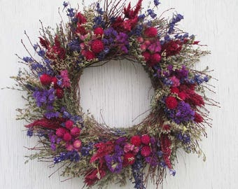purple and pink dried flower and twig wreath with German statice and thyme/dried flower and twig wreath/twig wreath/dried flower wreath