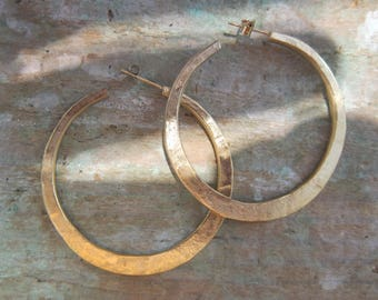 "Silver hoop earrings ""Malicia"" Vermeil, sterling silver, hand made in France."