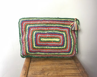 Vtg 70s Clovis Ruffin rainbow raffia straw avant garde woven clutch bag purse