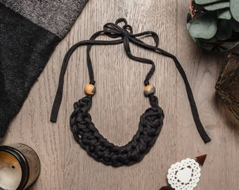 Isobel black knitted statement necklace with polymer beads, fabric necklace, bib necklace, black hand knit necklace