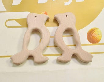 5pcs Magpie Bird Unfinished Wooden Teether Pendant,Baby Teethings Toy Wooden Teether Jewelry Toddler Teething Toy Baby gift Handmade 83x54mm