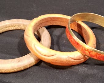 Vintage Wooden Bangle Carved and Inlaid