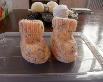 Heather peach baby wool baby shoes