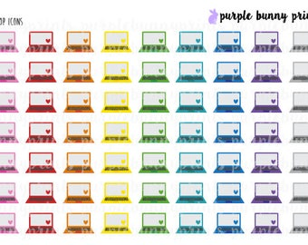 Rainbow Laptop Icons // Planner Stickers!