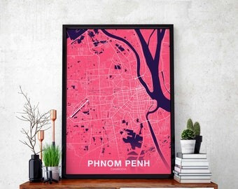 PHNOM PENH Cambodia map poster color wall decor design modern motto swiss scandinavian minimal nordic housewarming travel bedroom