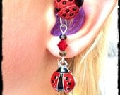 Hearing Aid Charms:  Lovely Ladybugs with Glass Accent Beads!  Also available in a Mother Daughter Set! Tube Trinkets sold separately!