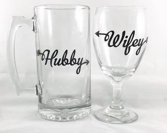 Hubby and Wifey Glass Set - Beer Mug - Wine Glass - Wedding Gift - Engagement Gift - Wedding Gifts for Couple