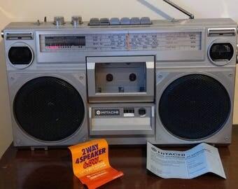 Hitachi TRK 7000E Boombox Stereo radio and cassette recorder