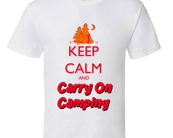 Camping T-Shirt,Keep Calm and Carry On Camping,cool camping gear,Funny Camping tees,campfire humor,camping clothing,