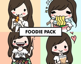 FOODIE Stickers / planner stickers, food stickers, junk food stickers, food, binge, eat stickers, ice cream, chips, sushi, ramen, pho / SG2