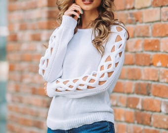 White womens knitted sweater long sleeve Spring sweater openwork  Wool sweater Oversized sweater Autumn Sweater Woman sweater evening