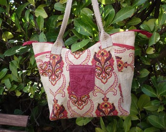Plain and patterned tapestry jute tote bag