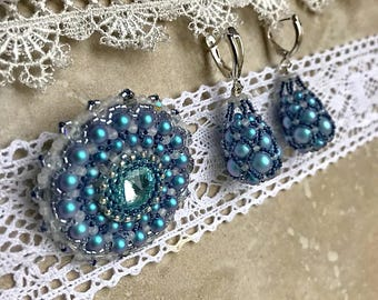 Blue jewelry, winter wife gift, christmas earrings for girlfriend, Trendy brooch, long earrings for evening, mom christmas gift jewelry
