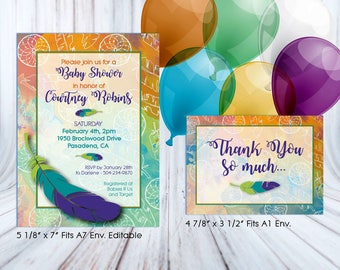 Boho Baby Shower Decorations. Editable baby shower invitation. Baby shower favor tags. Cake toppers. Baby shower games. Baby shower banner.