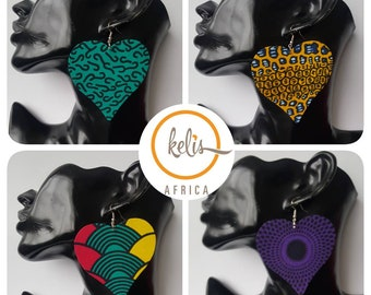 Price Slash!!African Print Dangling Heart Earrings