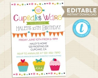 CUPCAKE Wars Invitation / Cupcake Wars Birthday / Cupcake Wars Party / for girl / Instant download / editable / edit yourself / Baking Party